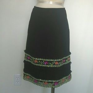 Escada embroidered & beaded skirt